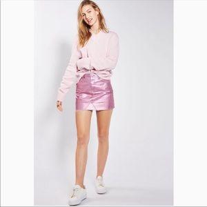 Topshop Moto Pink Metallic Denim Mini Skirt